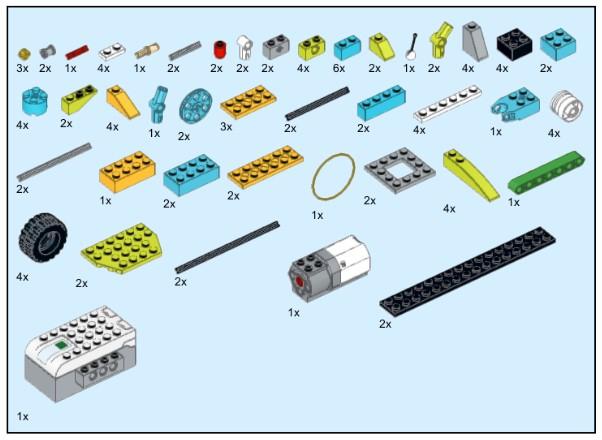 Инструкция из 100 деталей модели Модифицированный грузовичок для Lego WeDo 2.0