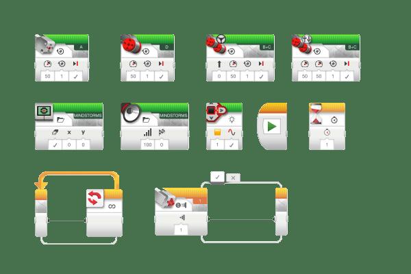 Программирование блоков на планшете EV3