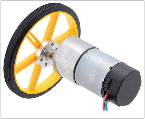 Мотор постоянного тока со встроенным энкодером и колесом