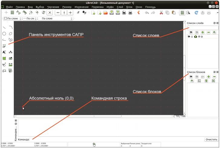 Рабочее окно программы LibreCAD
