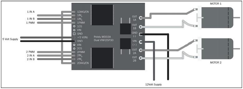 Схема взаимодействия двух электродвигателей