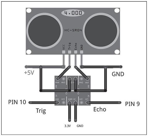 Схема подключения ультразвукового датчика HC-SR04 к микроконтроллеру LaunchPad