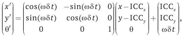 Уравнение для вычисления положения робота с помощью данных, полученных от датчиков правого и левого колес