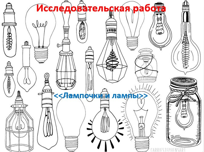 Исследовательский проект Лампочки и лампы