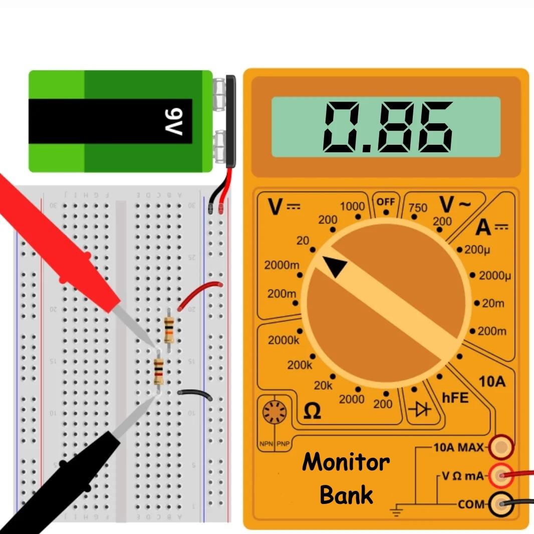 Измерение падения напряжения при R = 1k