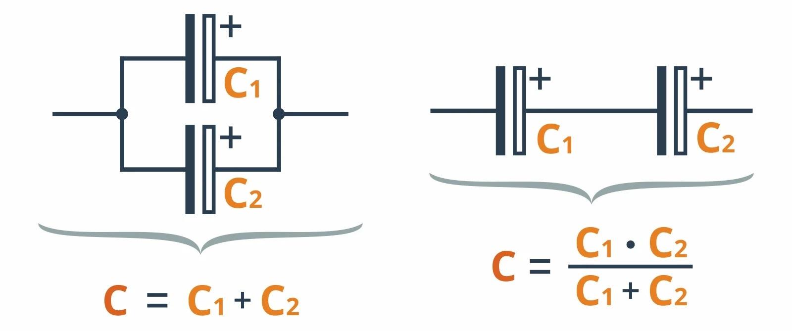 Подключение конденсаторов параллельно и последовательно