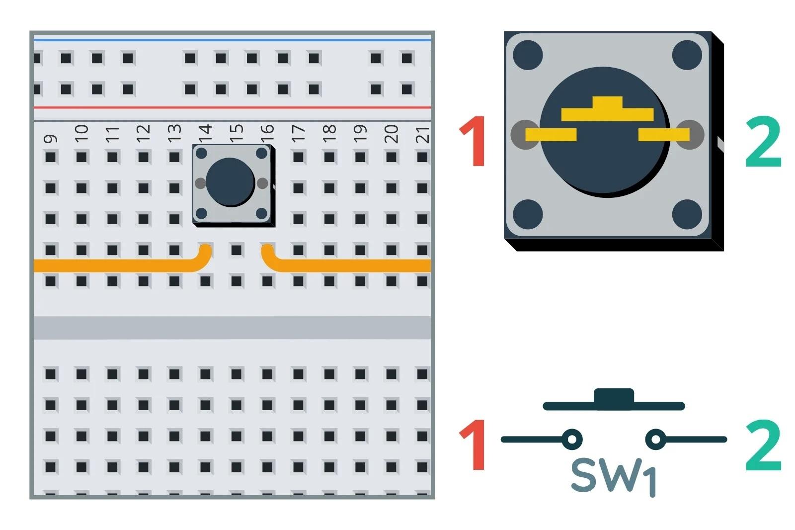 Внутренние соединения в кнопке