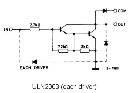 Внутренняя схема ULN2003