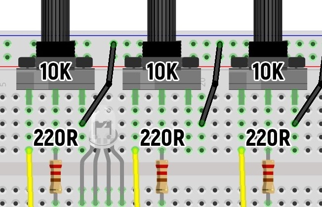 Геркон, зуммер с генератором, микровыключатель и RGB-диод