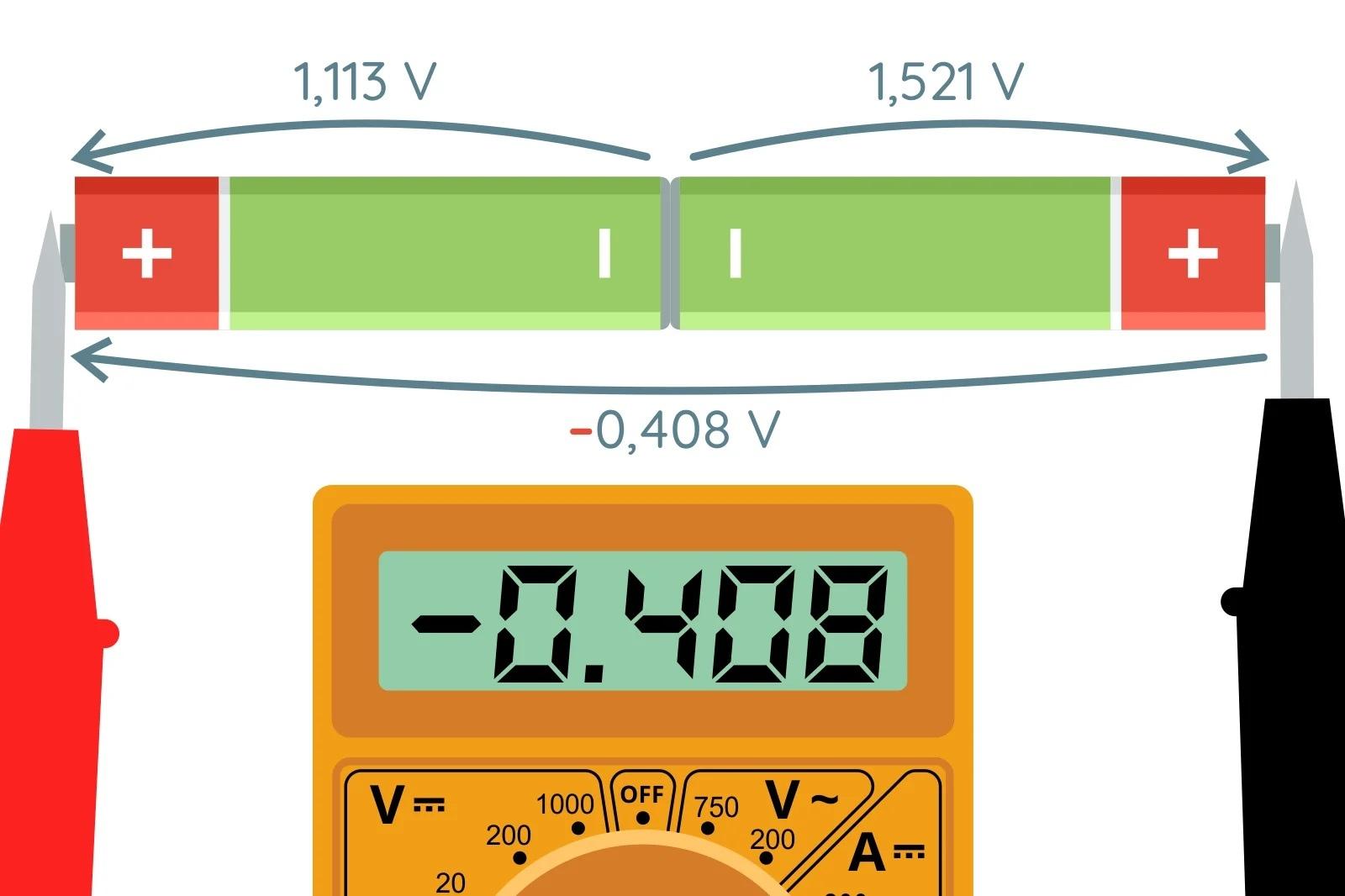 Дифференциальное напряжение двух батареек АА