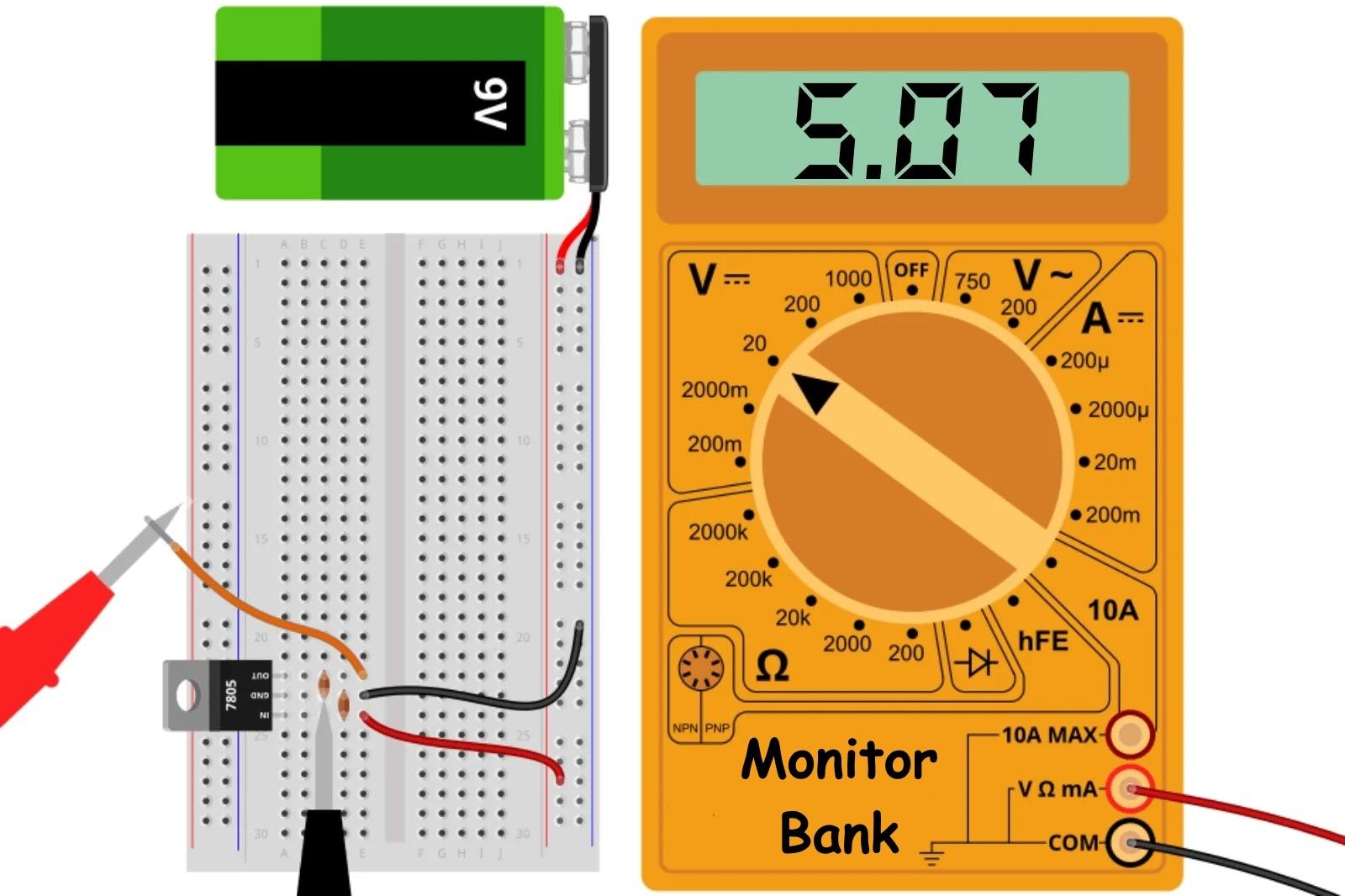 Измерение напряжения на выходе LM7805