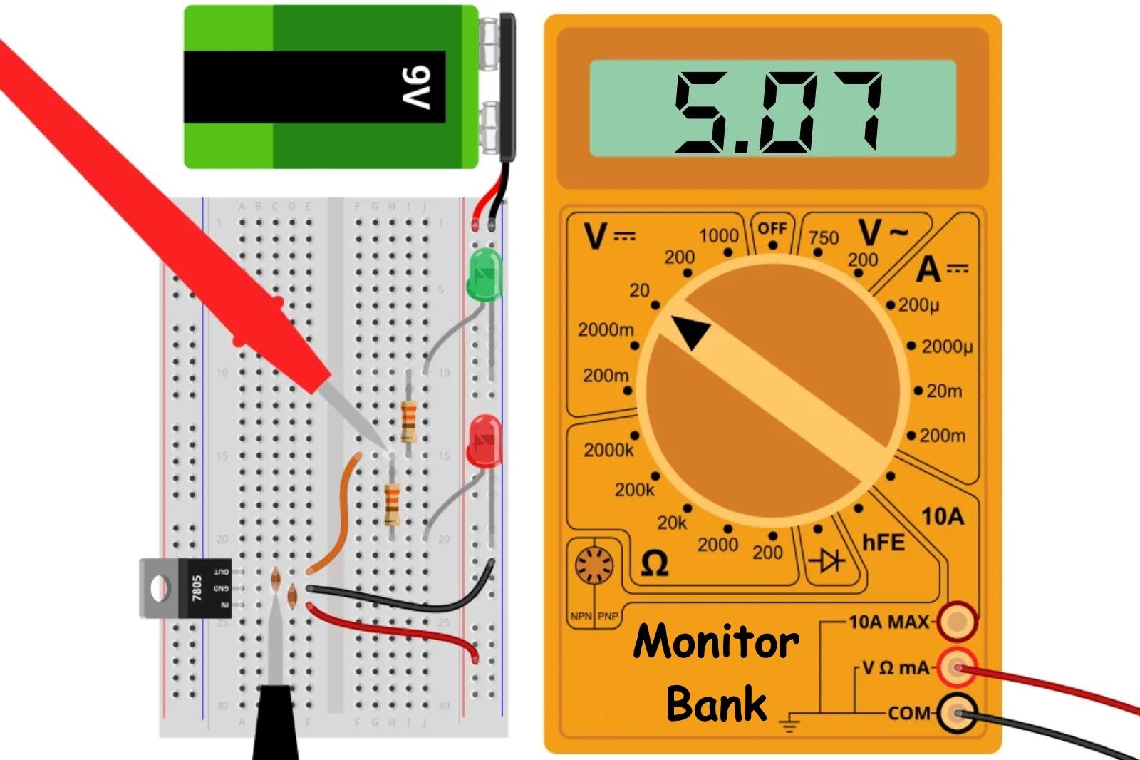 Измерение напряжения на нагруженном выходе LM7805