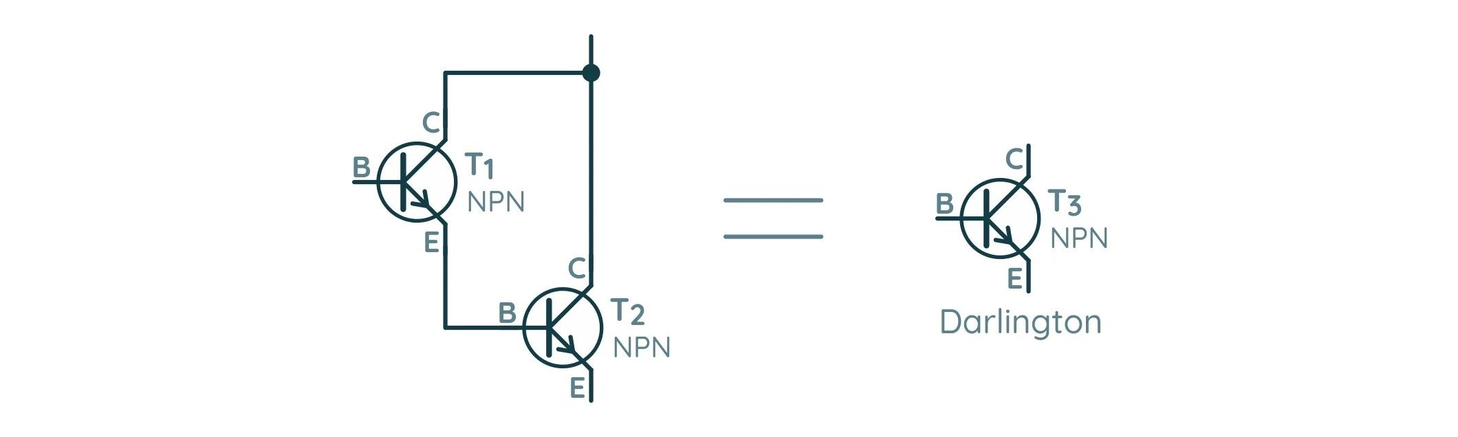 Схема подключения двух биполярных транзисторов в схему Дарлингтона