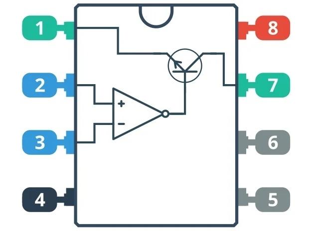 Символическое изображение внутренней части схемы LM311