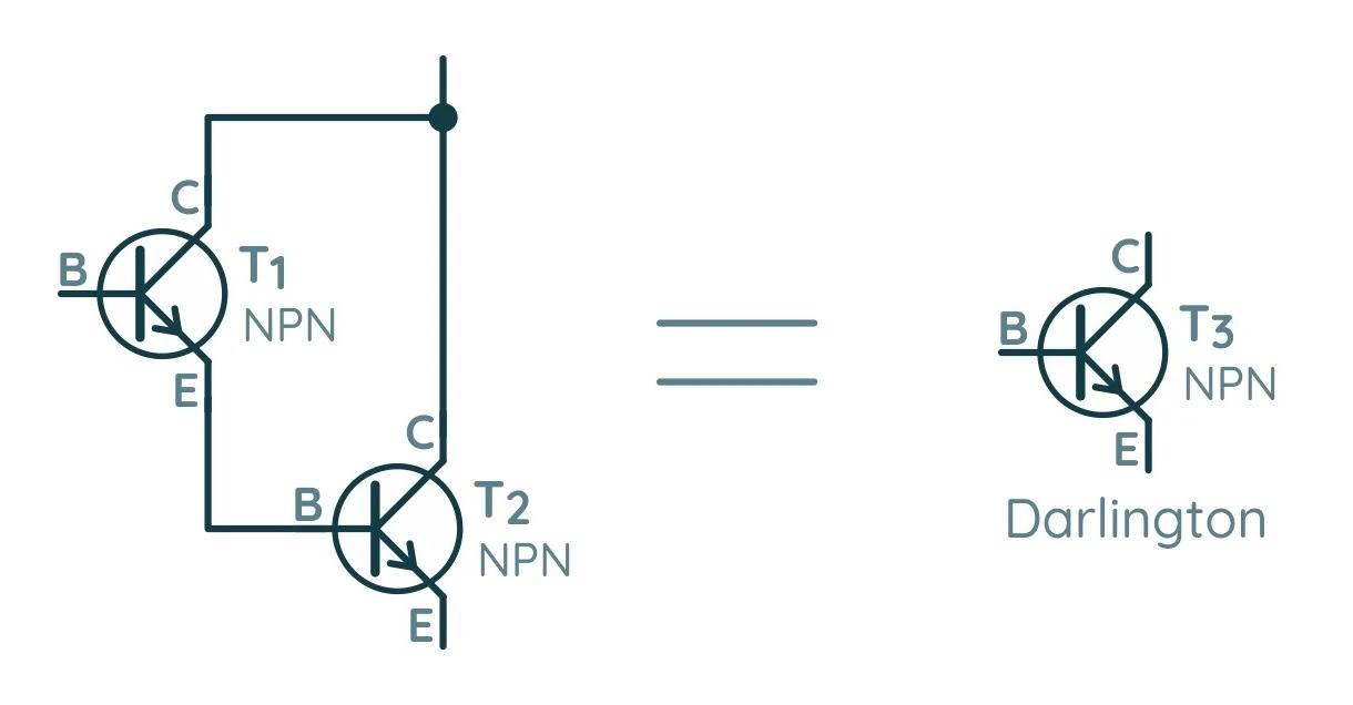 Подключение двух биполярных транзисторов в схему Дарлингтона