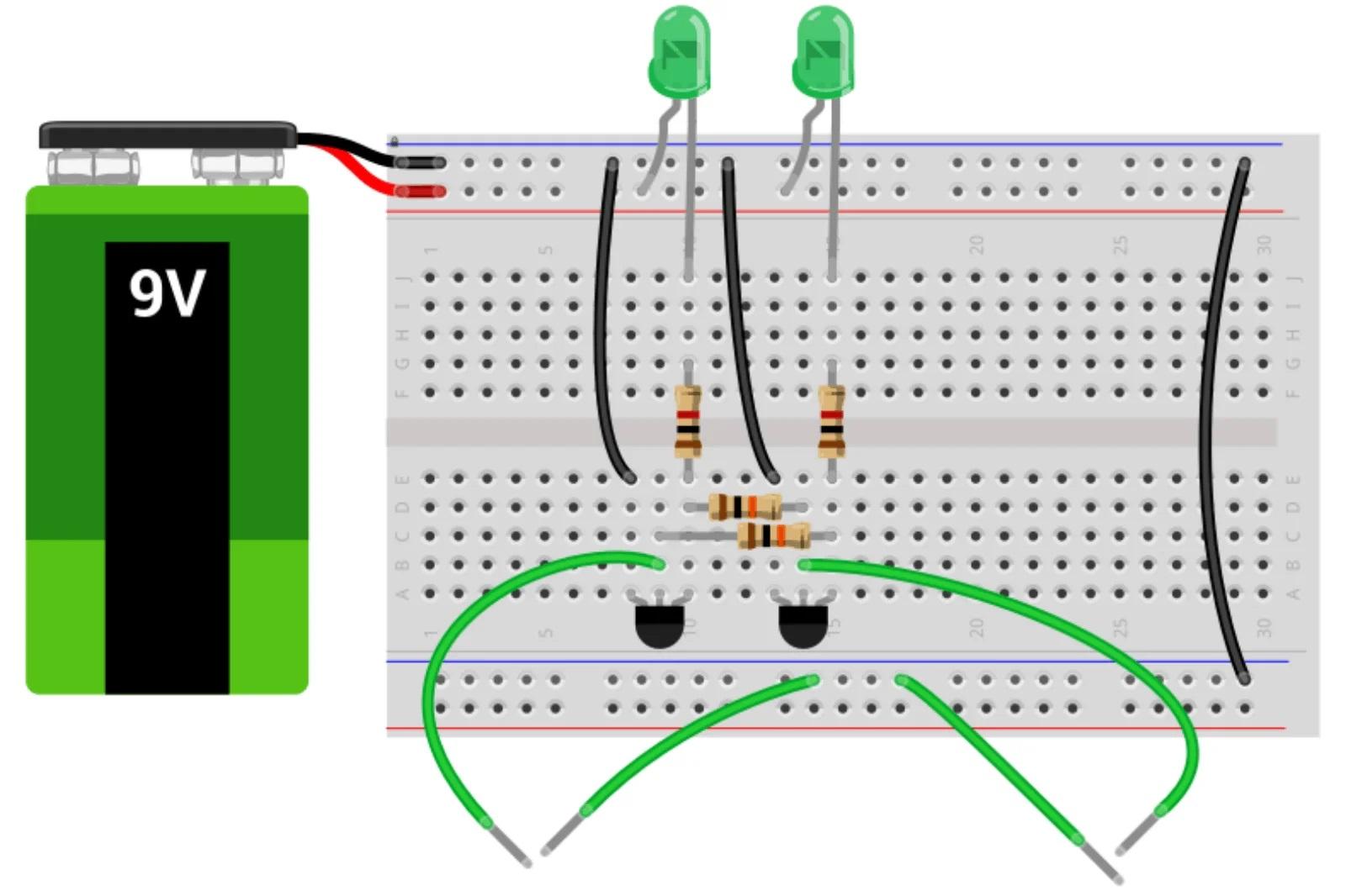 Схема сборки бистабильного триггера