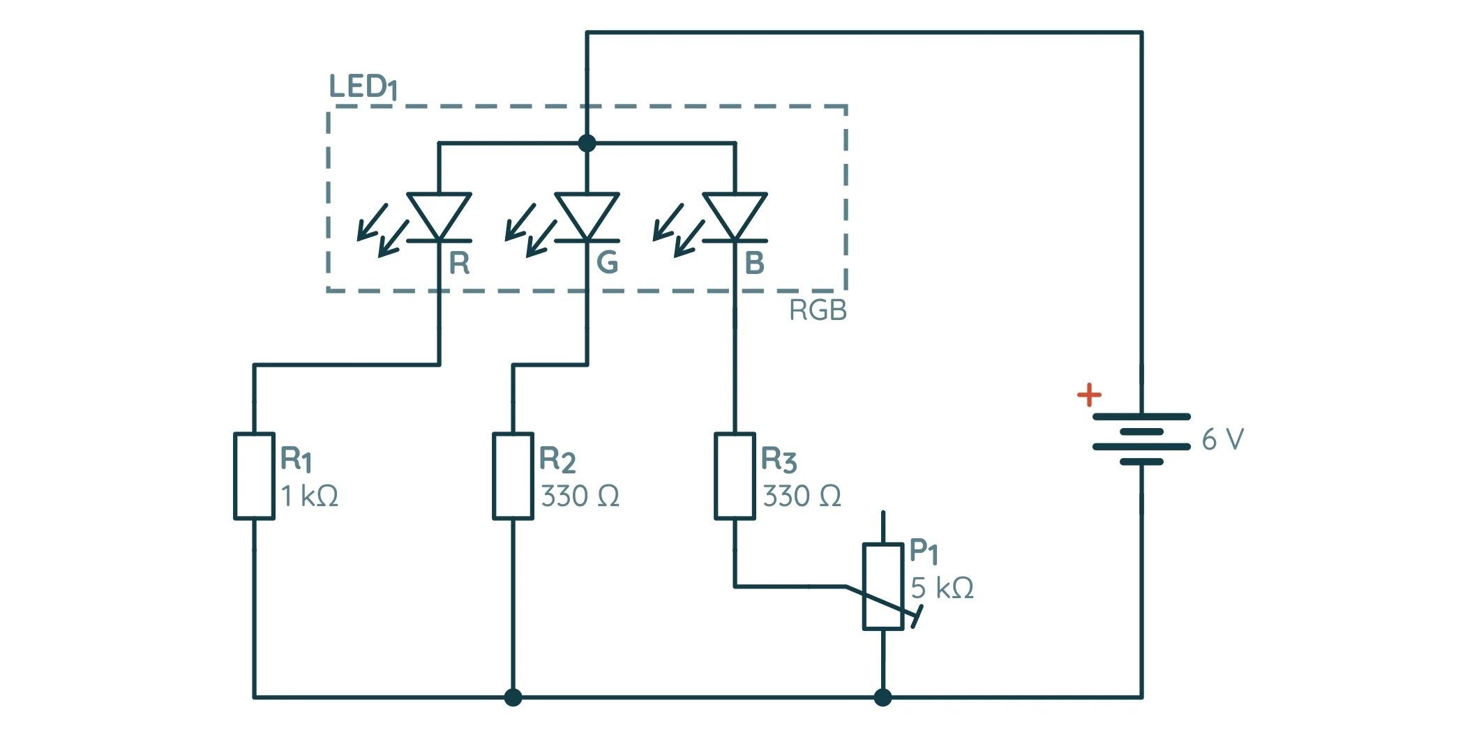 Схема упражнения с RGB-диодом и потенциометром