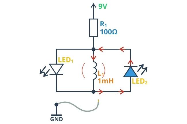 LED2 загорается при отключении питания