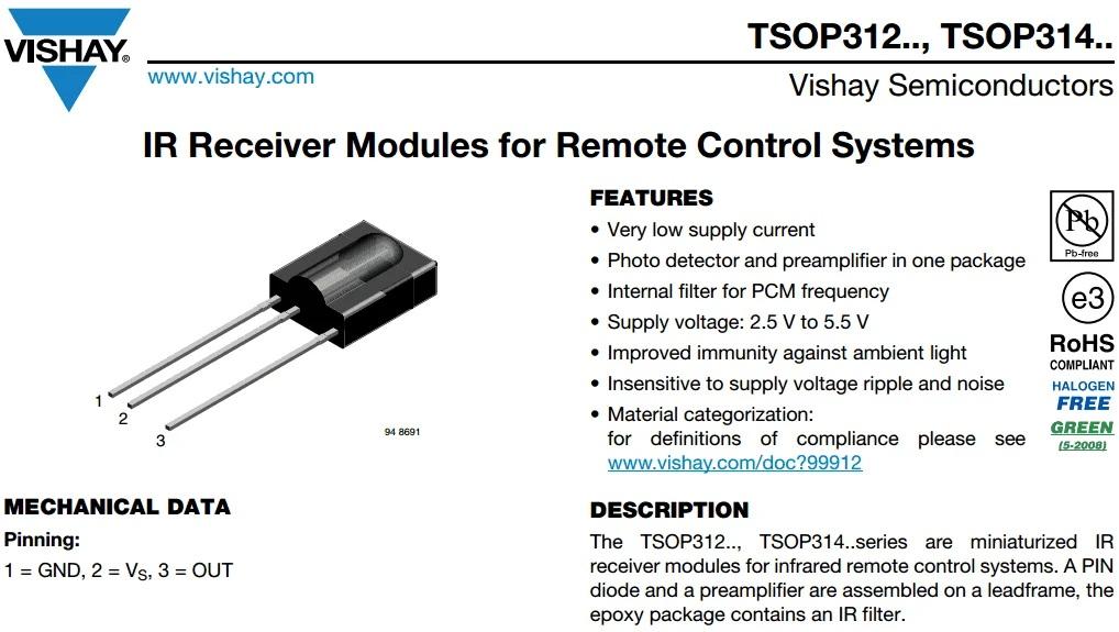 Выдержка из спецификации TSOP31236