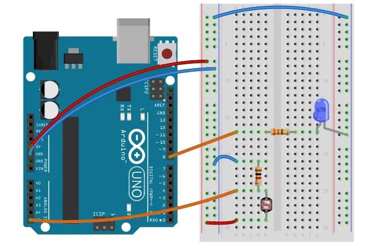 Делитель напряжения с фоторезистором