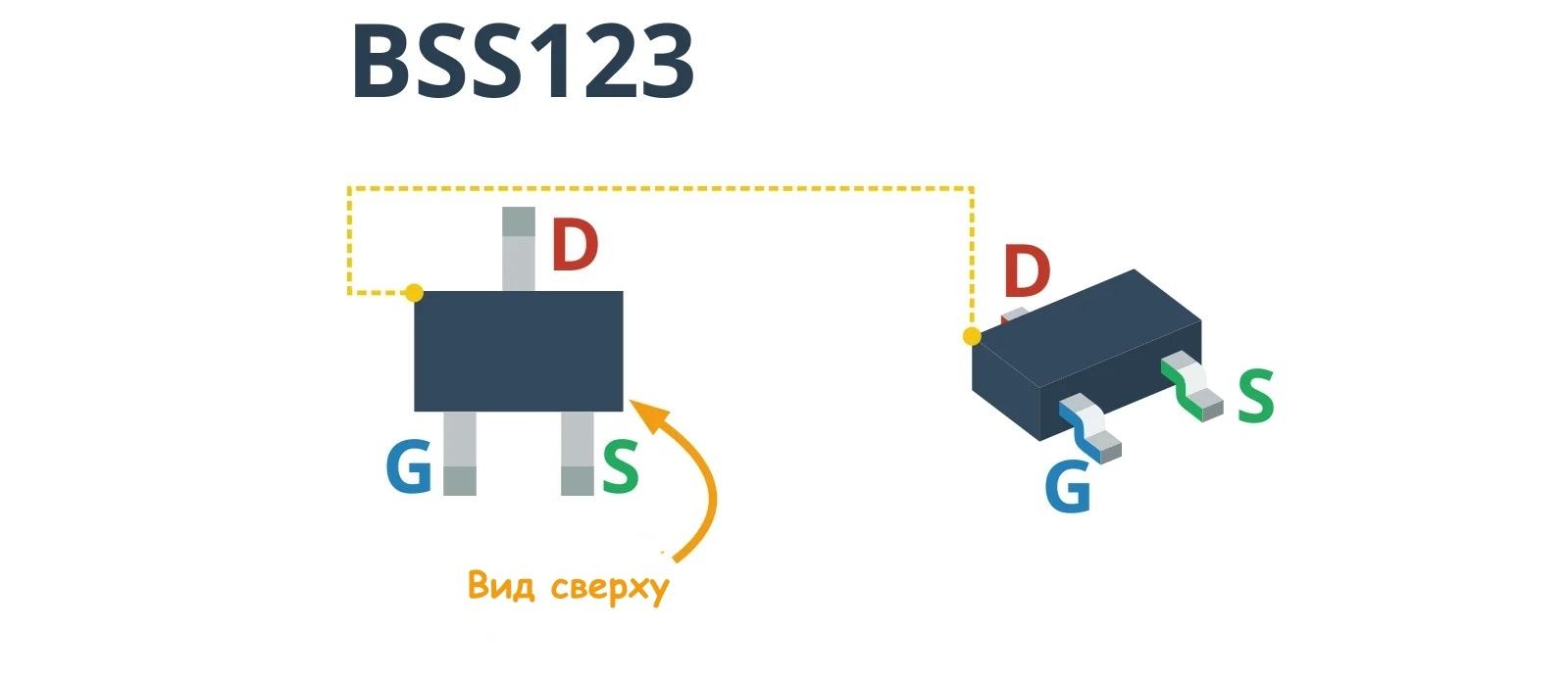 Описание выводов SMD транзистора BSS123