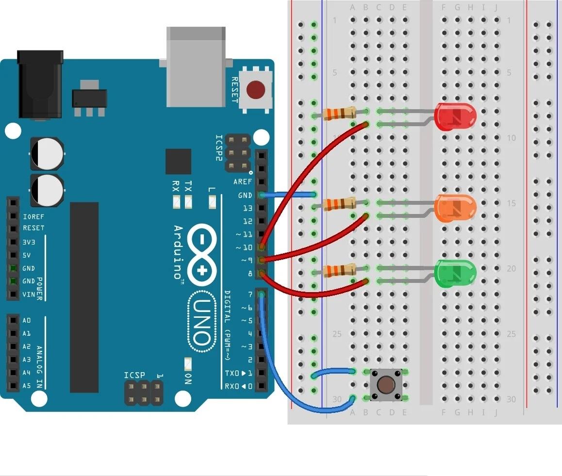 Подключение светодиодов и кнопки