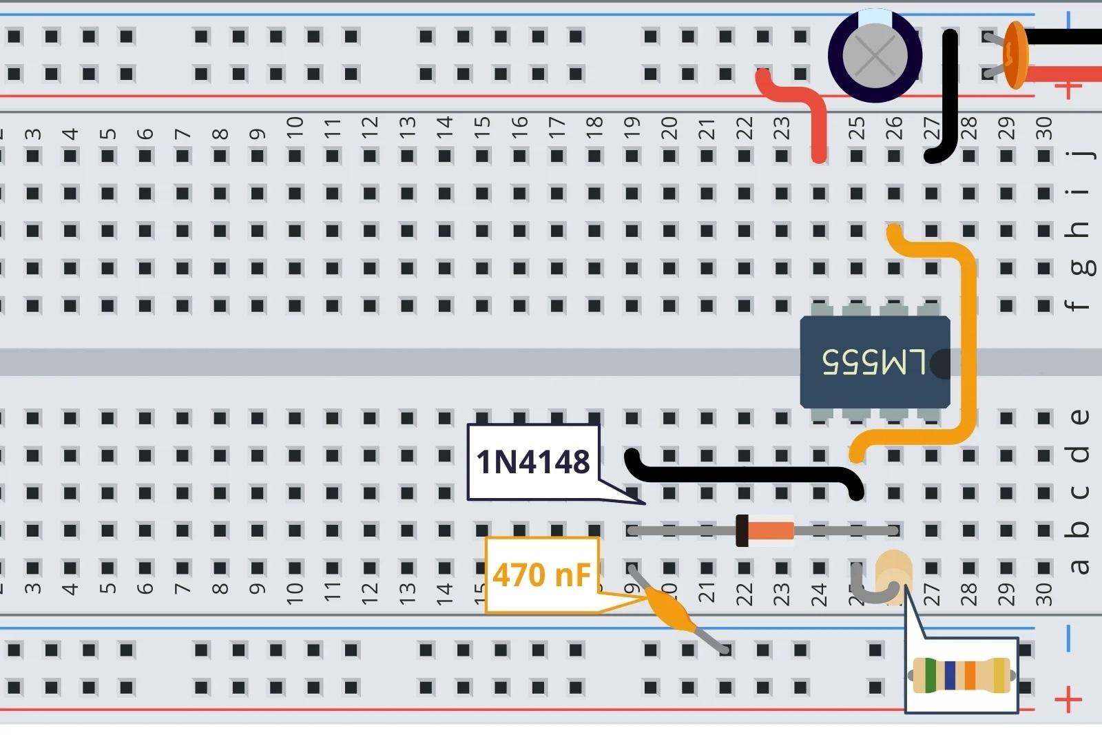 Подключите резистор и потенциометр