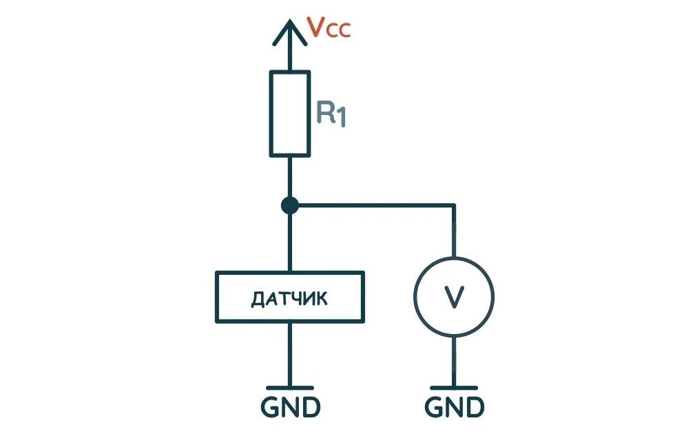 Схема подключения аналогового датчика