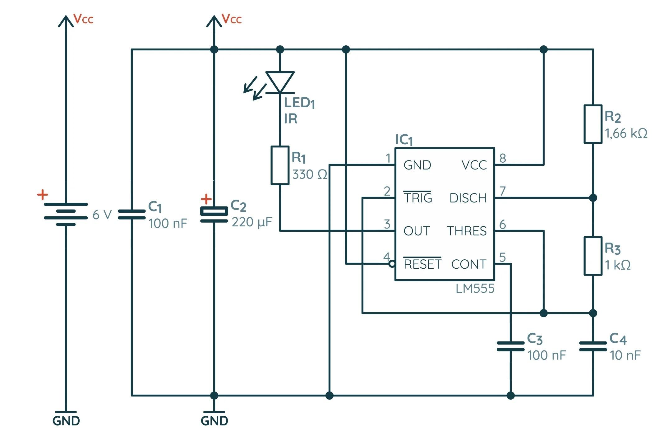 Принципиальная схема датчика препядствия на базе NE555