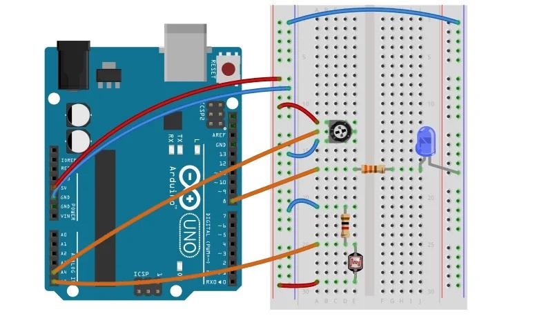 Регулировка света с помощью потенциометра