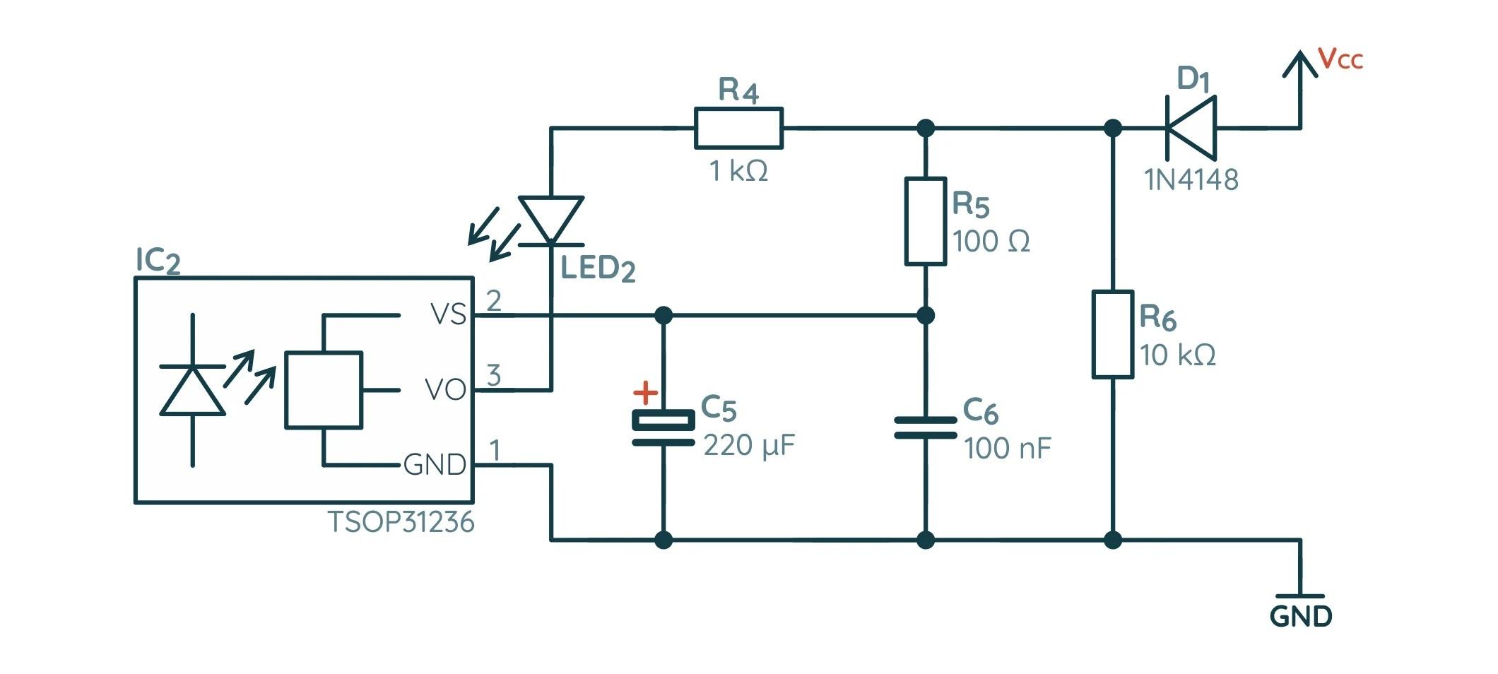 Схема датчика препядствий на базе NE555
