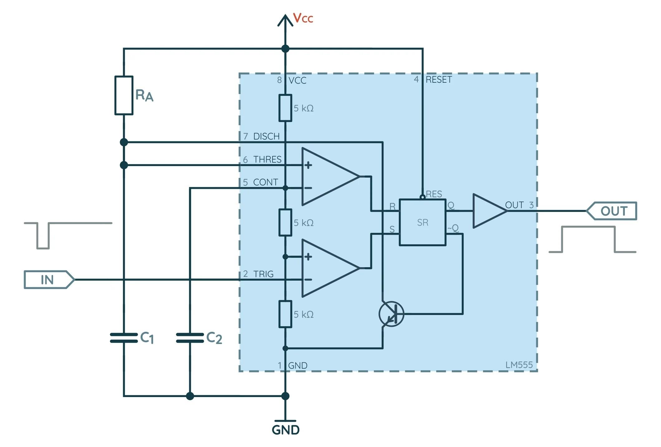 Схема моностабильной конфигурации NE555