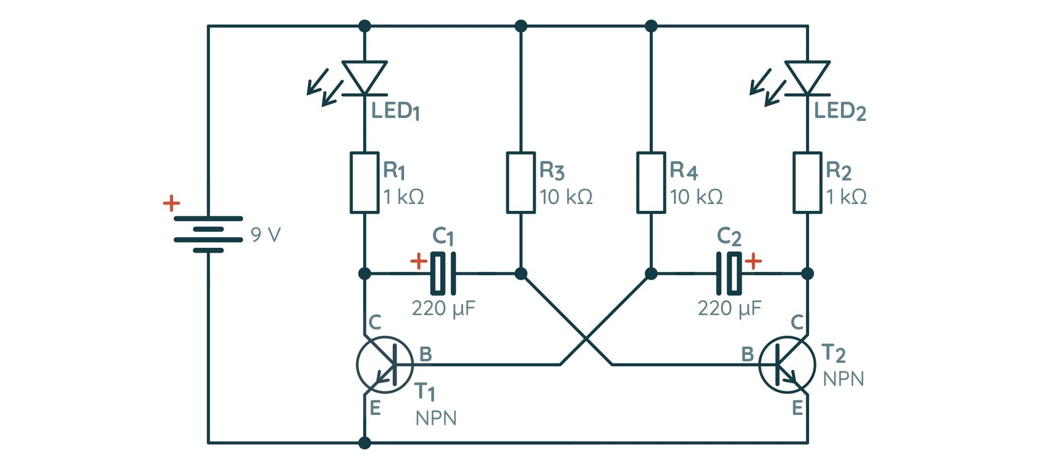 Схема нестабильного мультивибратора на биполярных транзисторах