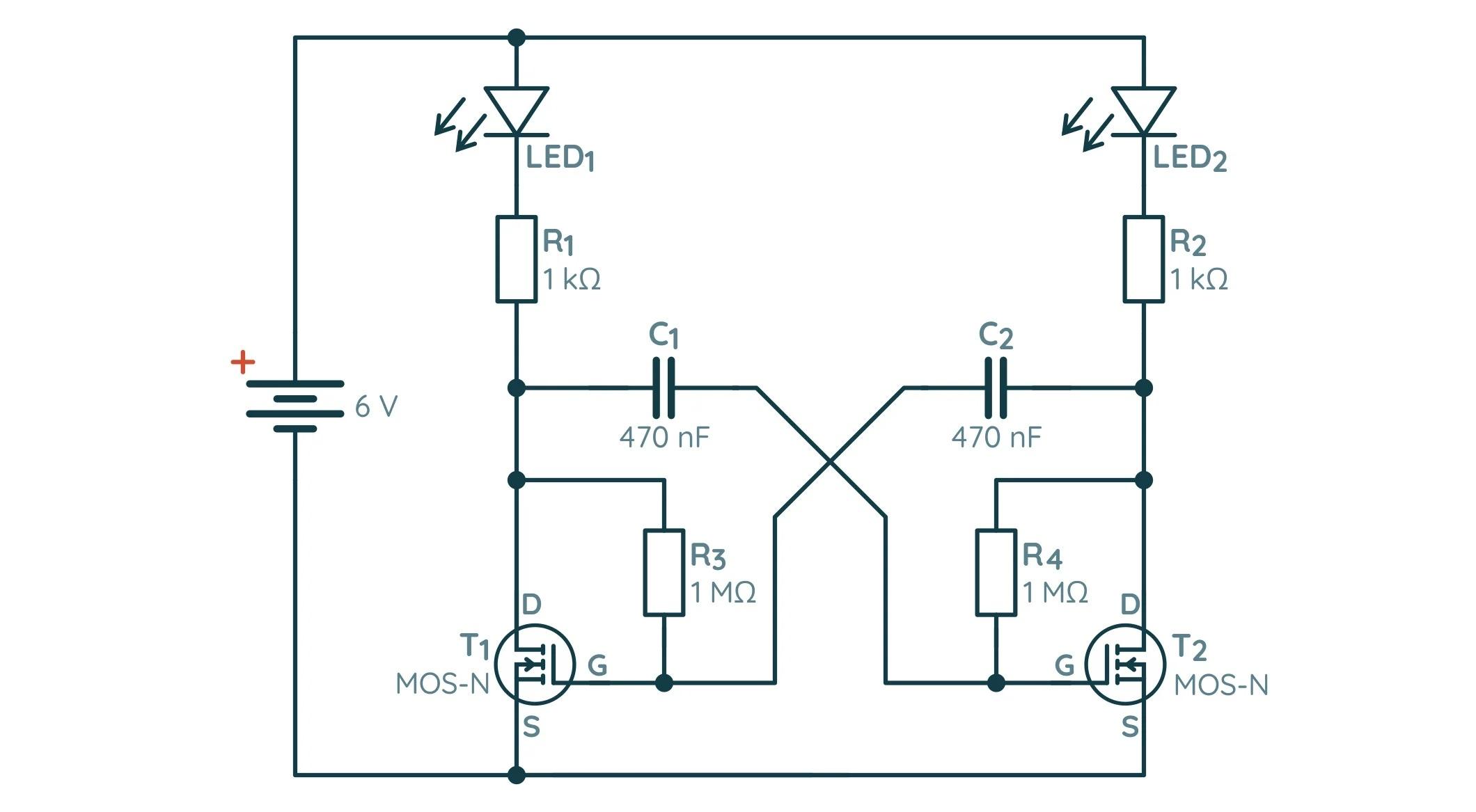 Схема нестабильного мультивибратора на MOSFET транзисторах