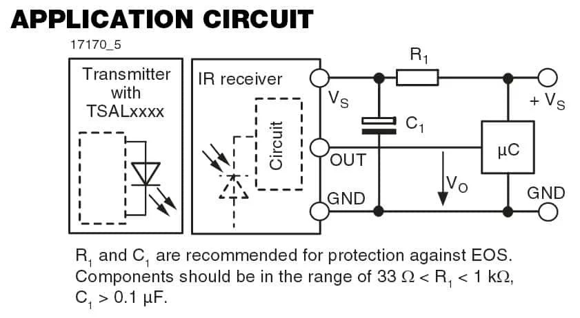 Схема применения интегрированного инфракрасного приемника