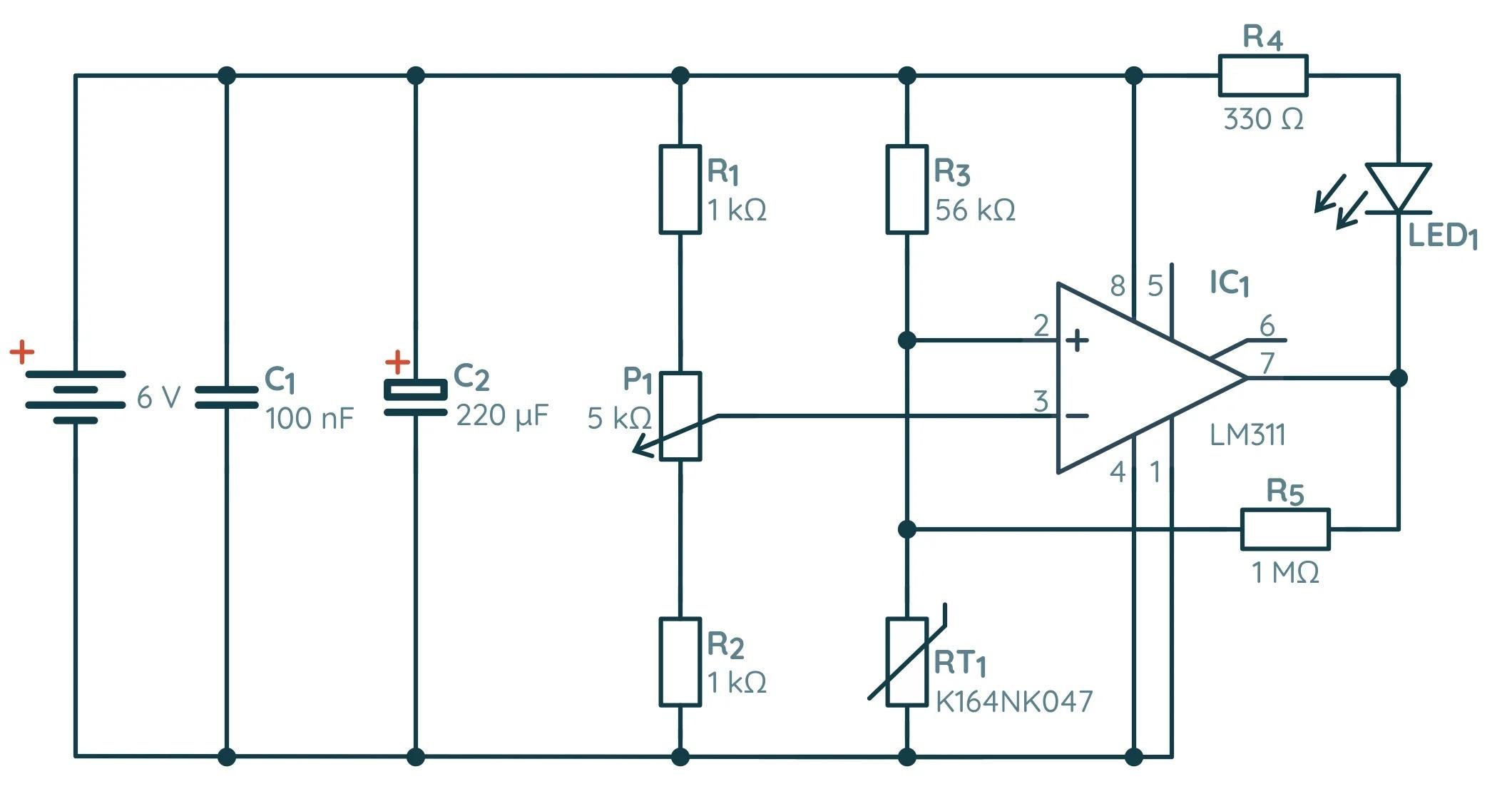 Схема простого термостата
