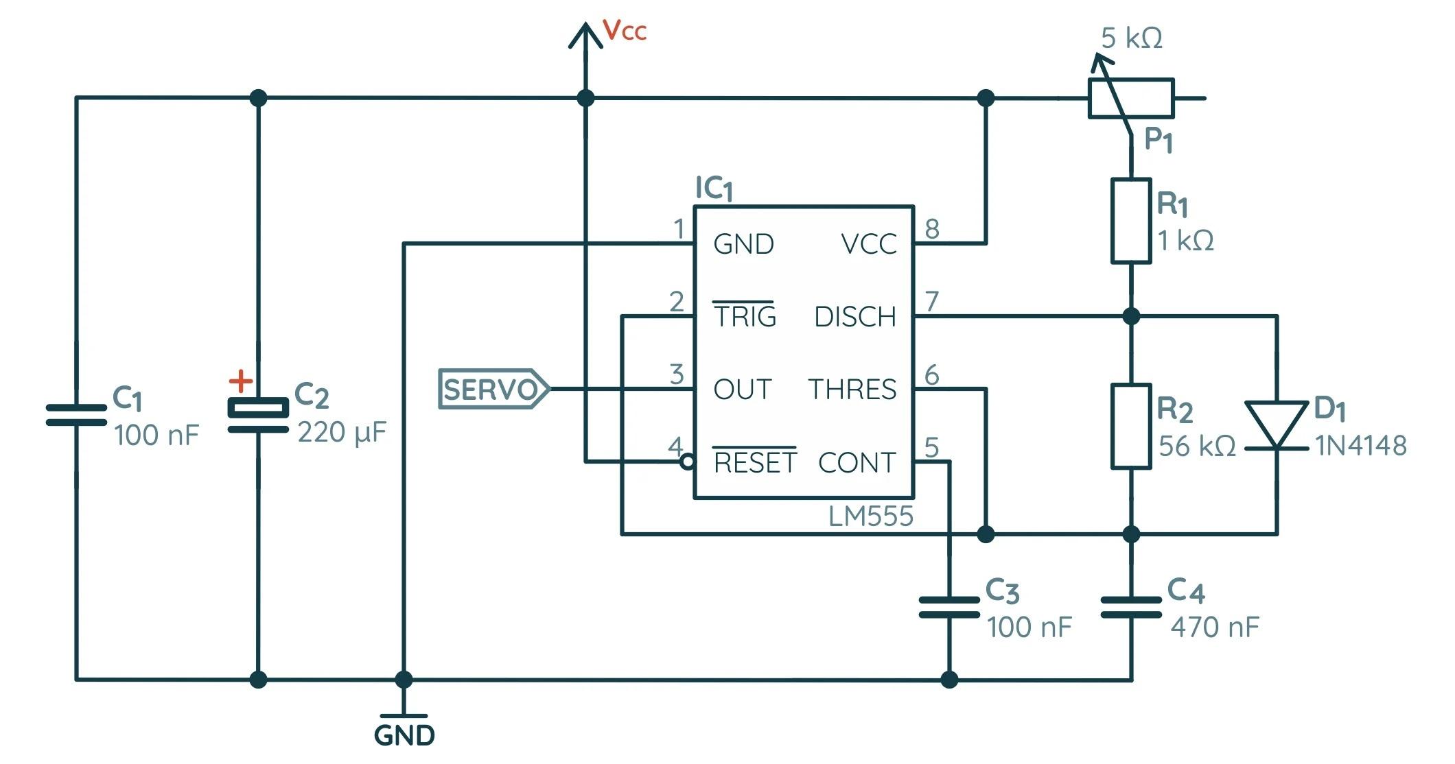 Схема сервопривода на базе NE555