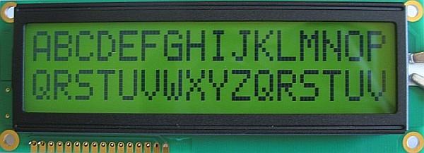 Образец текста на ЖК-дисплее